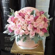 roses in a box pink roses in pink box garden of kisses