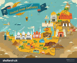 map with attractions uae travel concept map attractions specialties stock vector