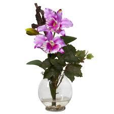 Artificial Flower Arrangement In Vase Mini Cattleya W Fluted Vase Silk Flower Arrangement Nearly Natural