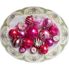 vintage christmas ornaments glass all pink shiny brite poland usa