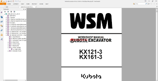 kubota excavators kx121 3 kx161 3 workshop manual auto repair