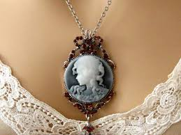 cameo necklace images Slate blue cameo victorian woman blue cameo necklace vintage jpg