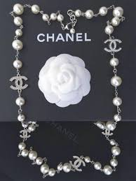 pearl necklace with crystals images 100 authentic chanel 5 crystal cc logo silver long pearl necklace jpg
