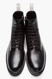common projects black leather lace up combat boots in black for