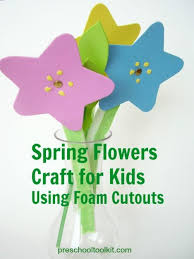 spring flowers craft for kids using foam cutouts preschool toolkit