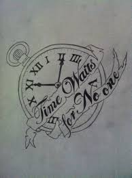 time waits for no one clock tattoo by vinylmcwubbs69 on deviantart