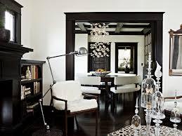 light walls dark trim dining room mediterranean with dark wood