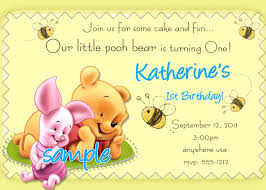 winnie the pooh 1st birthday invitations by createphotocards4u