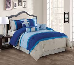 Blue Bed Set 7 Piece Navy Blue Gray Comforter Set