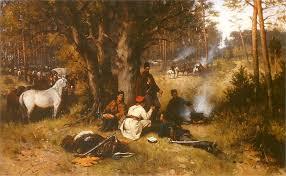 le si e tadeusz ajdukiewicz obóz powstańców w lesie 1875 olej na płótnie