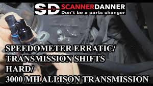 speedometer erratic transmission shifts hard 3000 mh allison