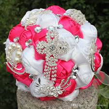 Quinceanera Bouquets Pink White Satin Wedding Flowers Decorations Crystal Pearls Bridal