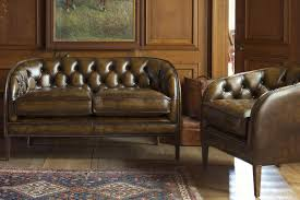 Chesterfield Sofa Vintage Brown Leather Mini Chesterfield Sofa In The Vintage Traditional