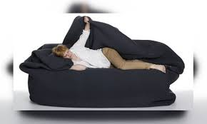 get a bean bag bed with built in blanket and pillow