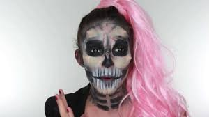 pink wig spirit halloween lady gaga skeleton halloween make up tutorial youtube