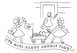 brownie girls selling cookies with wagon coloring page free