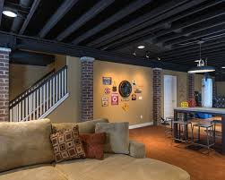 black exposed ceiling living room contemporary with painted