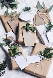 festive wrapping inspiration brown paper tree decorations and