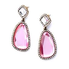 pink earrings matira pink drops glass statement earrings by
