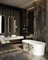 Round Bathroom Vanity Bathroom Oval White Freestand Bathtub Dark Laminated Wall