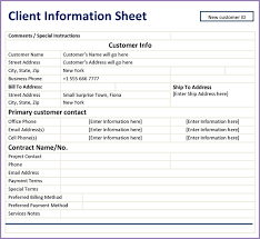 Client Information Sheet Template Client Information Sheet Slenotary