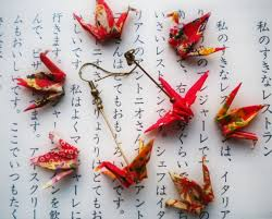 japan earrings origami paper crane earrings japanese themed jewelry paper