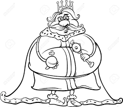 black and white cartoon illustration of funny fat king fairytale