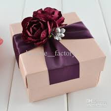 gift box with ribbon 100 pcs pink square box with wine ribbon flower decoration wedding