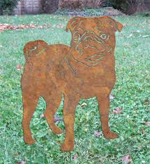 pug garden stake or wall pet memorial yard lawn ornament