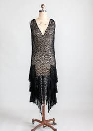 vintage 1920s black lace flapper dress raleigh vintage