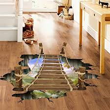 home and decor flooring amazon com wall stickers goodculler 3d bridge floor removable