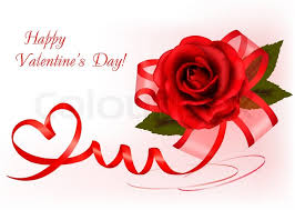 valentine s day background red rose with gift red bow stock
