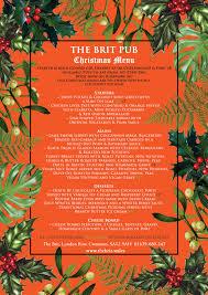 christmas party menu the brit pub u0026 restaurant 01639 680247
