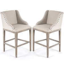 nail studded linen bar stools