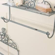 blue shabby chic towel rail shelf