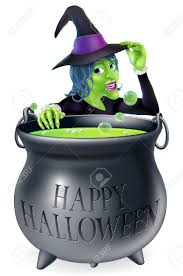 a cartoon witch looking over her bubbling cauldron with a happy