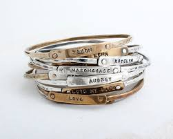 Mothers Bracelets With Names Mother U0027s Bracelet With Stamped Names Personalized Bangle Bracelet