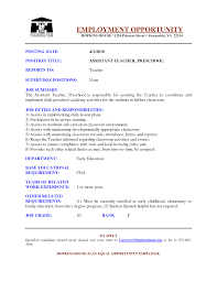 Montessori Teacher Resume Sample by Assistant Teacher Assistant Resume Sample