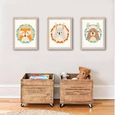 photo chambre enfant affiches décoration chambre enfant cerf lapin et renard orange un