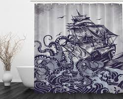Country Themed Shower Curtains Octopus Kraken Attack On A Ship In The Sea Shower Curtain Great