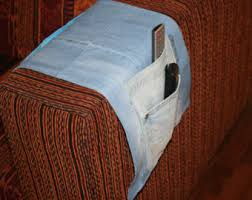 Armchair Remote Holder Pencil Roll Up Pencil Caserecycled Denim Pencil Roll Pen