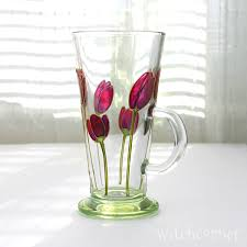 hand painted glass mug purple tulips design coffee mug tea