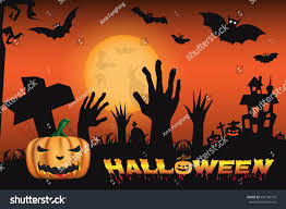 halloween zombie background halloween night background pumpkin scary zombie stock vector