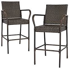 amazon com set of 4 stewart outdoor brown wicker barstool