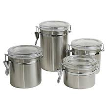 Stainless Steel Canisters Kitchen Delighful Kitchen Canister Sets Stainless Steel Hocking Black