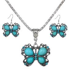 long turquoise pendant necklace images Women butterfly turquoise pendant chain necklace and earrings set jpg
