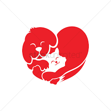 cat and dog forming a heart vector image 1305232 stockunlimited