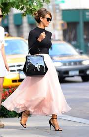 White Tulle Maxi Skirt Pink Chiffon Skirt With A Cropped Black Sweater Fashion