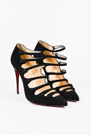 christian louboutin black suede strappy