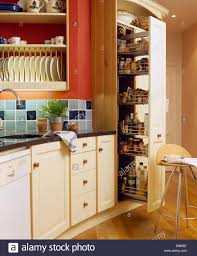 pull out storage drawers in larder cupboard in kitchen with blue